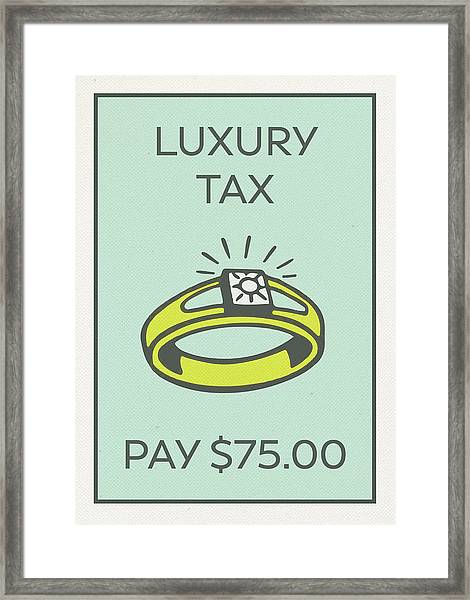 Luxury Tax Vintage Monopoly Board Game Theme Card Framed Print
