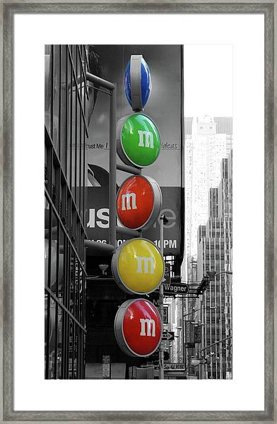 M And Ms In New York City Framed Print
