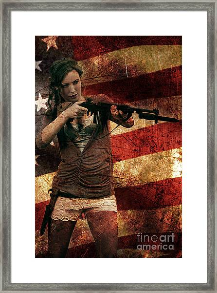 M1 Carbine On American Flag Framed Print