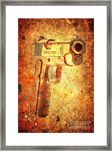 M1911 Muzzle On Rusted Background 3/4 View Framed Print