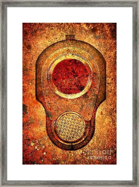 M1911 Muzzle On Rusted Background - With Red Filter Framed Print
