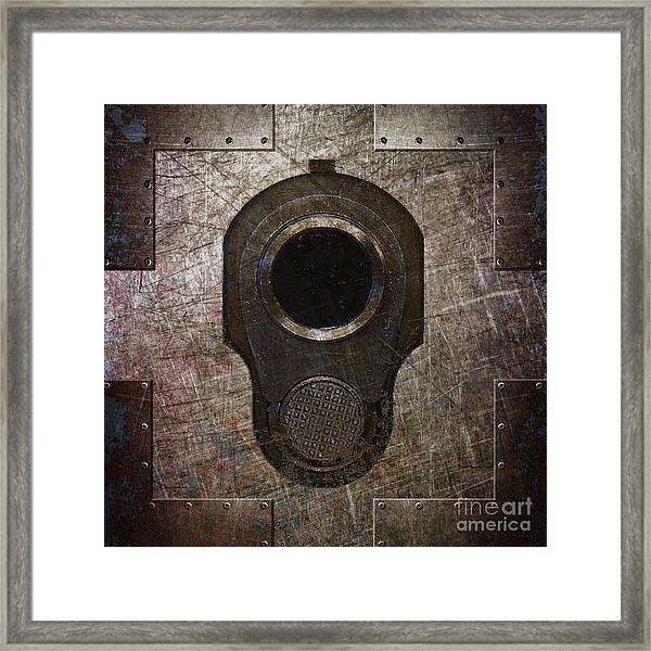 M1911 Muzzle On Rusted Riveted Metal Dark Framed Print