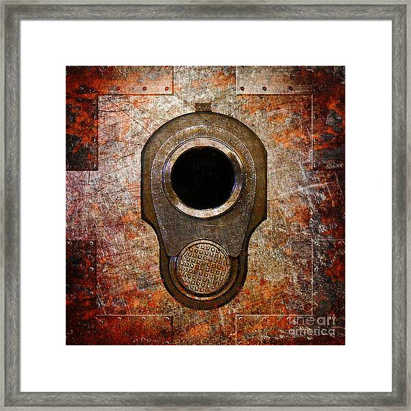 M1911 Muzzle On Rusted Riveted Metal Framed Print