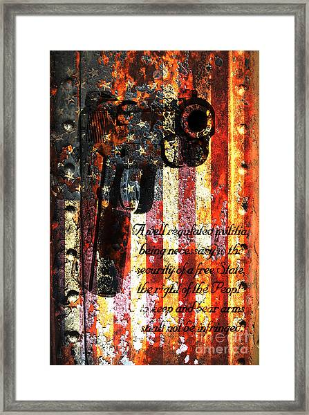 M1911 Pistol And Second Amendment On Rusted American Flag Framed Print