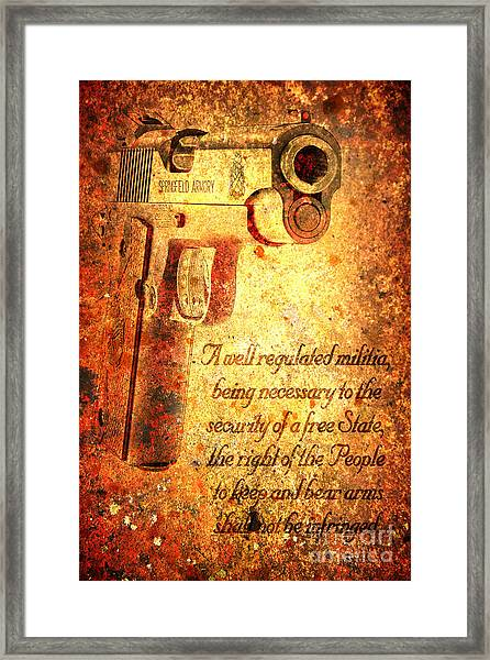M1911 Pistol And Second Amendment On Rusted Overlay Framed Print