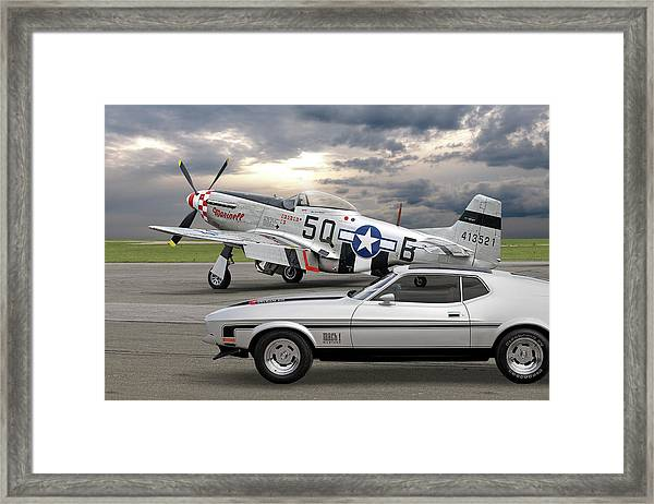 Mach 1 Mustang With P51  Framed Print