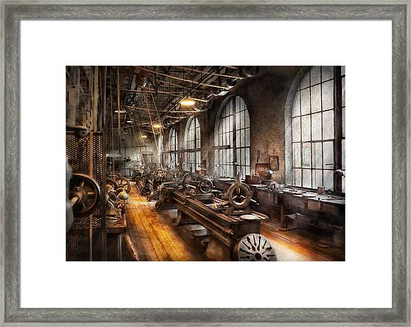 Machinist - A Room Full Of Lathes  Framed Print
