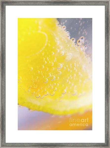 Macro Lemonade Bubbles Framed Print