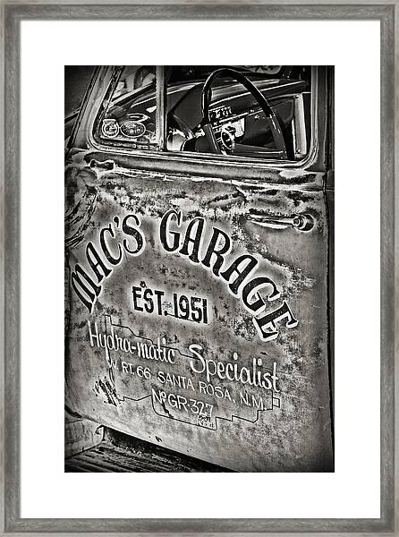 Macs Garage Framed Print