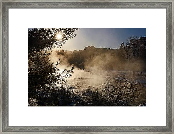 Madawaska River Sunrise Mist Framed Print