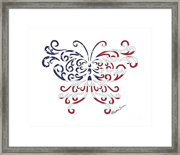 Made In The Usa Tribal Butterfly Framed Print