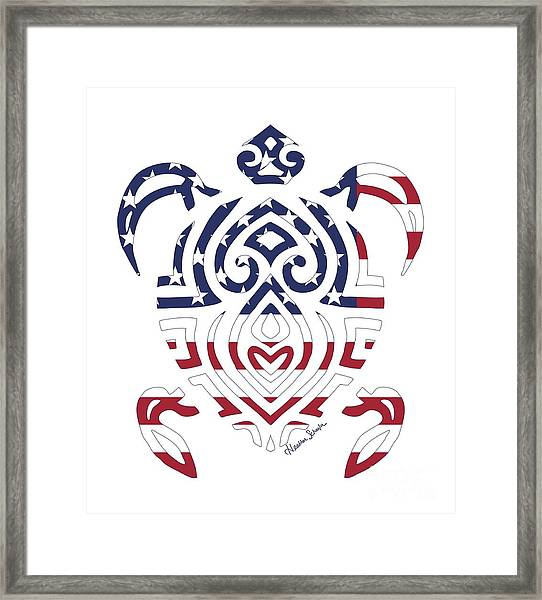 Made In The Usa Tribal Turtle Framed Print