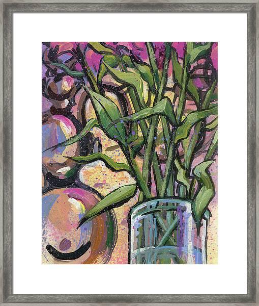 Magenta Bouquet On Mantel Framed Print
