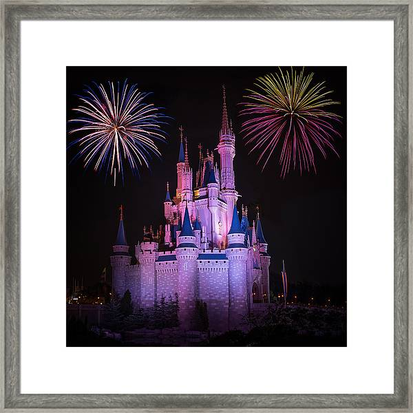 Magic Kingdom Castle Under Fireworks Square Framed Print