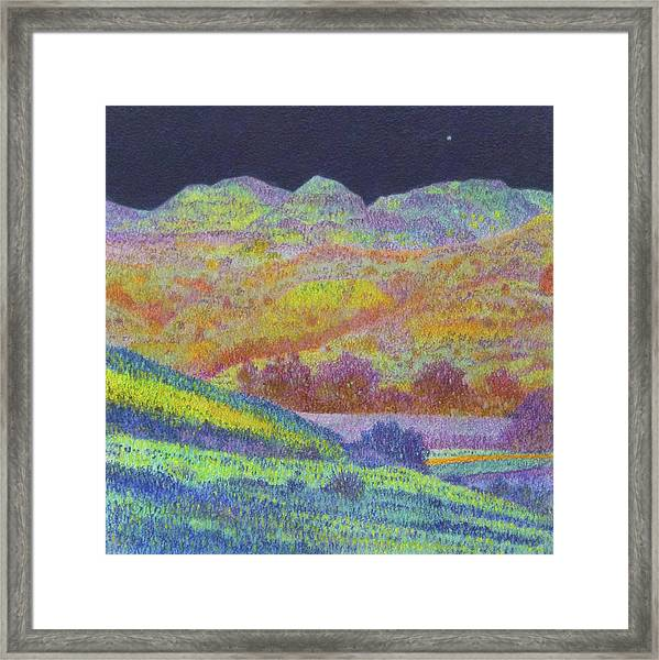 Framed Print featuring the painting Magical Midnight Grasslands by Cris Fulton