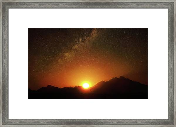 Magical Milkyway Above The African Mountains Framed Print