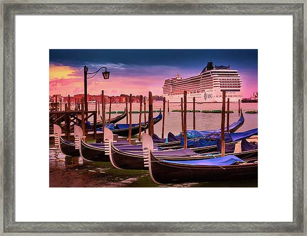 Gondolas And Cityscape At Sunset In Venice, Italy Framed Print