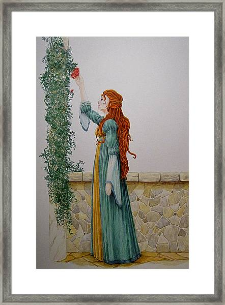 Maiden And The Rose Framed Print by Theresa Higby