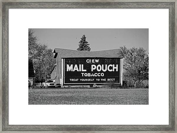 Mail Pouch Tobacco In Black And White Framed Print