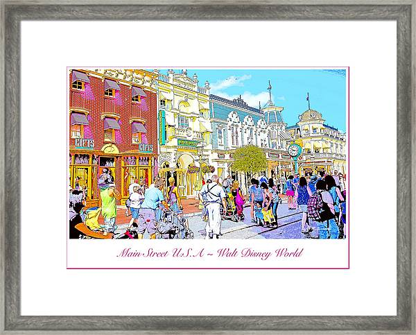 Main Street Usa Walt Disney World Poster Print Framed Print