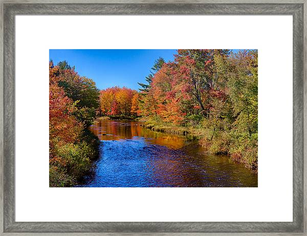 Maine Brook In Afternoon With Fall Color Reflection Framed Print