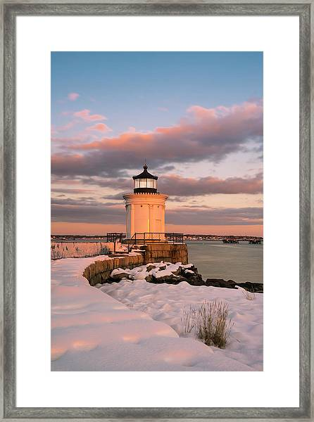 Framed Print featuring the photograph Maine Bug Light Lighthouse Snow At Sunset by Ranjay Mitra