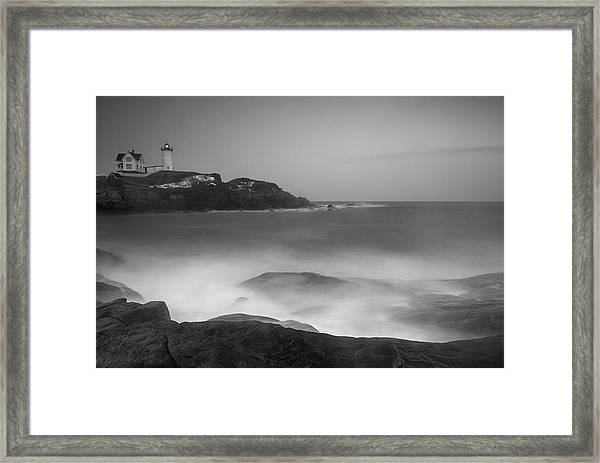 Framed Print featuring the photograph Maine Cape Neddick Lighthouse And Rocky Coastal Waves Bw by Ranjay Mitra