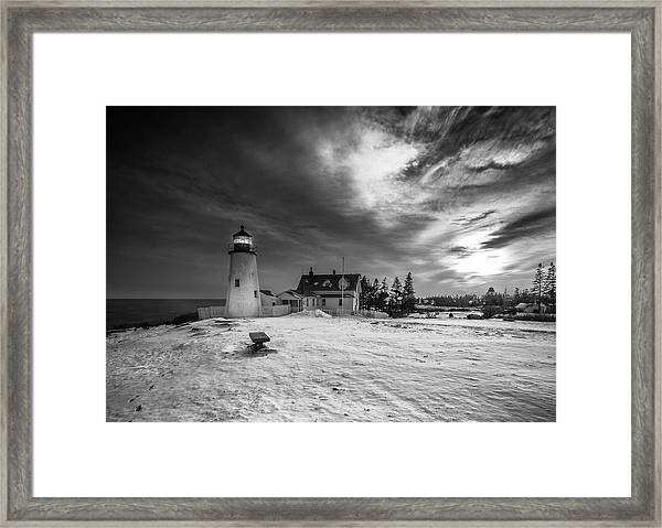 Maine Coastal Storm Over Pemaquid Lighthouse Framed Print