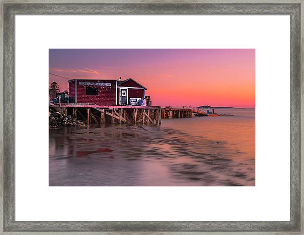 Maine Coastal Sunset At Dicks Lobsters - Crabs Shack Framed Print