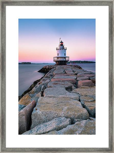 Maine Coastal Sunset Over The Spring Breakwater Lighthouse Framed Print