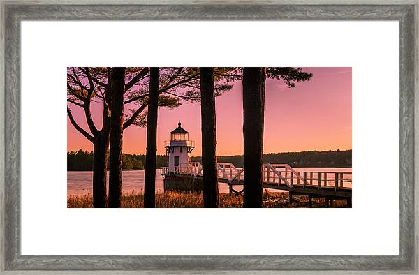 Maine Doubling Point Lighthouse At Sunset Panorama Framed Print