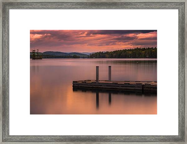 Maine Highland Lake Boat Ramp At Sunset Framed Print