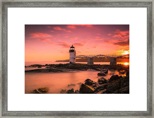 Maine Lighthouse Marshall Point At Sunset Framed Print