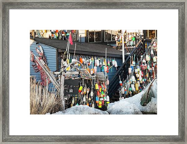 Maine Lobster Shack In Winter Framed Print