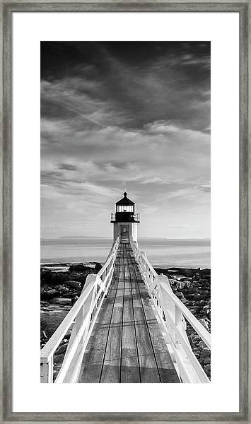 Maine Marshall Point Lighthouse Vertical Panorama In Black And White Framed Print