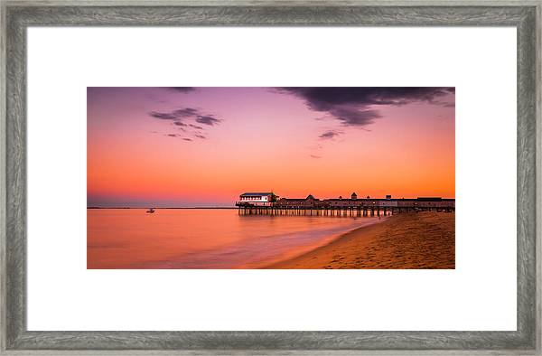 Maine Old Orchard Beach Pier At Sunset Framed Print