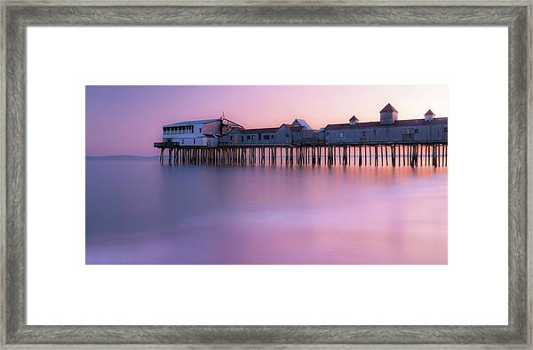 Maine Oob Pier At Sunset Panorama Framed Print