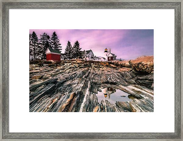 Maine Pemaquid Lighthouse Reflection In Summer Framed Print