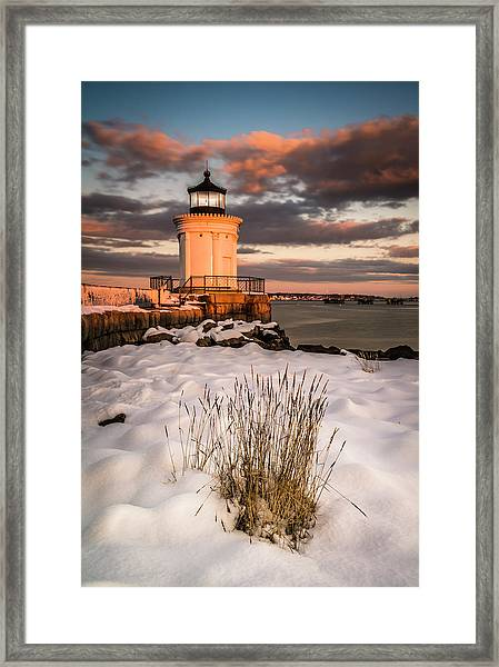 Framed Print featuring the photograph Maine Portland Bug Light Lighthouse Sunset  by Ranjay Mitra
