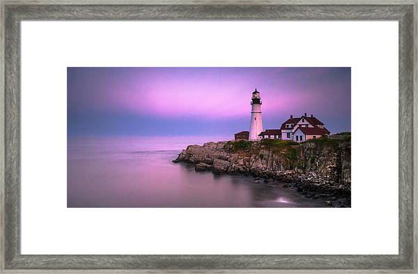 Framed Print featuring the photograph Maine Portland Headlight Blue Hour Panorama by Ranjay Mitra
