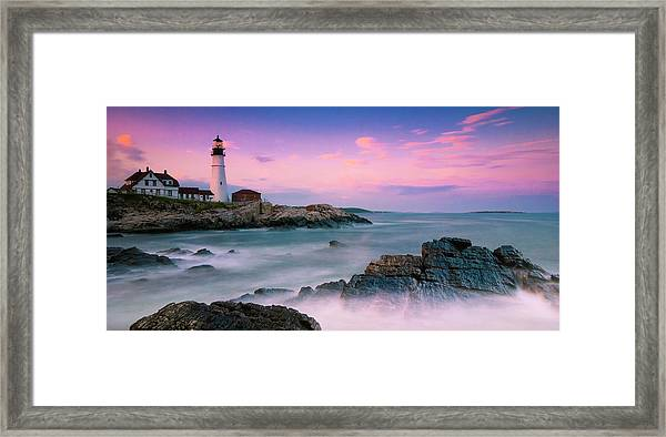 Maine Portland Headlight Lighthouse At Sunset Panorama Framed Print