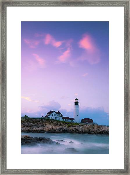 Maine Portland Headlight Lighthouse In Blue Hour Framed Print