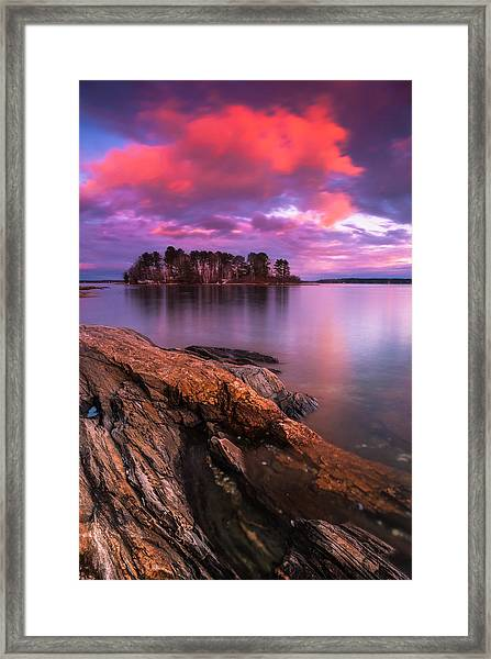 Maine Pound Of Tea Island Sunset At Freeport Framed Print