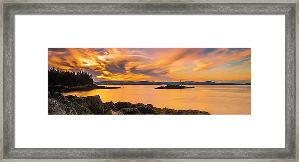 Maine Rocky Coastal Sunset In Penobscot Bay Panorama Framed Print