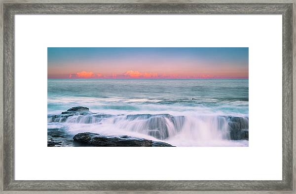 Maine Rocky Coastal Sunset Panorama Framed Print