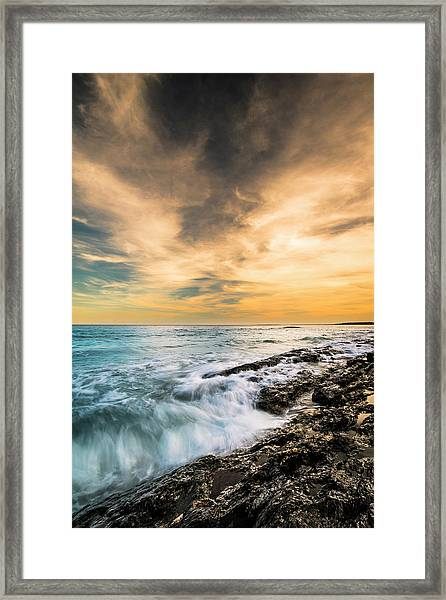 Maine Rocky Coastal Sunset Framed Print