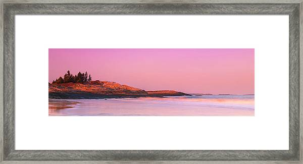 Maine Sheepscot River Bay With Cuckolds Lighthouse Sunset Panorama Framed Print
