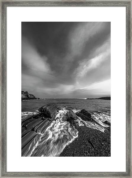 Maine Storm Clouds And Crashing Waves On Rocky Coast Framed Print