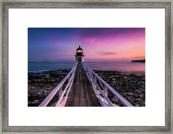 Maine Sunset At Marshall Point Lighthouse Framed Print