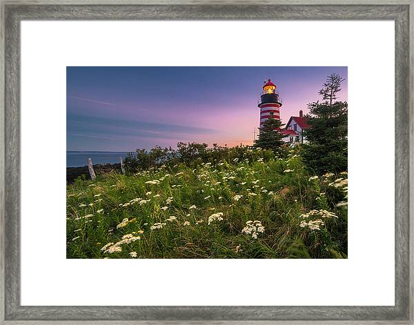 Maine West Quoddy Head Lighthouse Sunset Framed Print